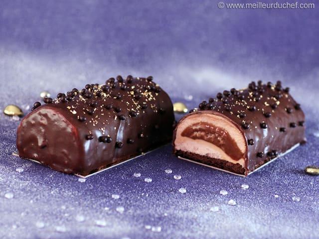 B che la mousse de marron et son c ur fondant de caramel for Buche de noel chocolat marron