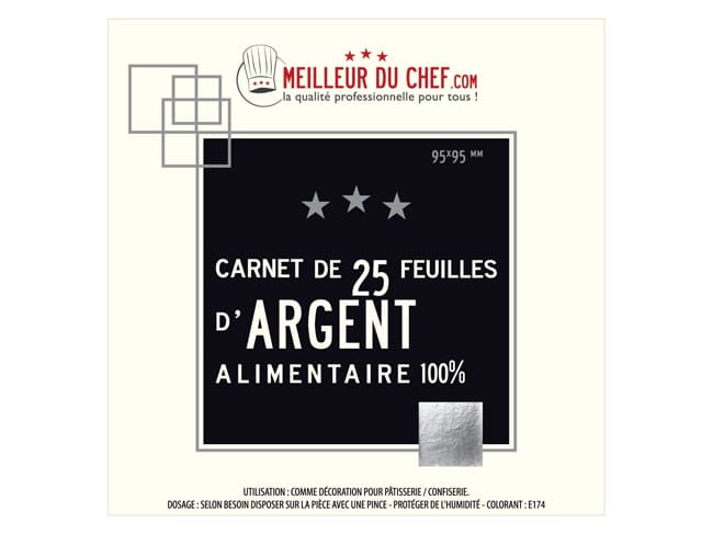 Silver Leaf Sheets - Booklet of 25 sheets - Meilleur du Chef