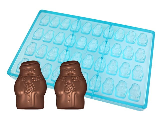 Chocolate Copolyester Mould - Snowmen (x 40) - 27,5 x 17,5cm