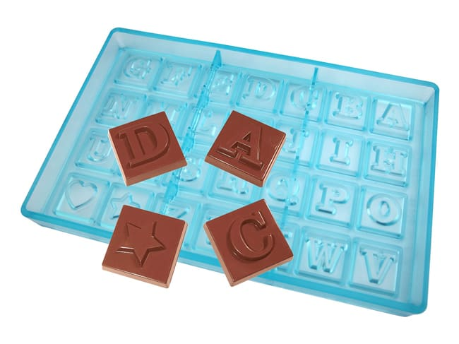 Chocolate Mould - 26 Letters - 27.5 x 17.5cm