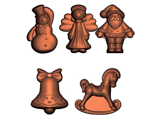 Chocolate Mould - 5 Christmas Shapes - 15 cavities