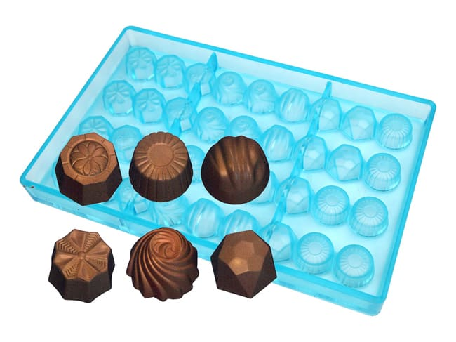 Chocolate Mould - 6 Assorted Bonbon Chocolates - 27.5 x 17.5cm