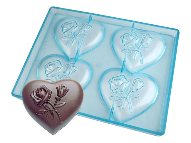 Chocolate Mould - Heart with Roses - 27,5 x 17,5cm