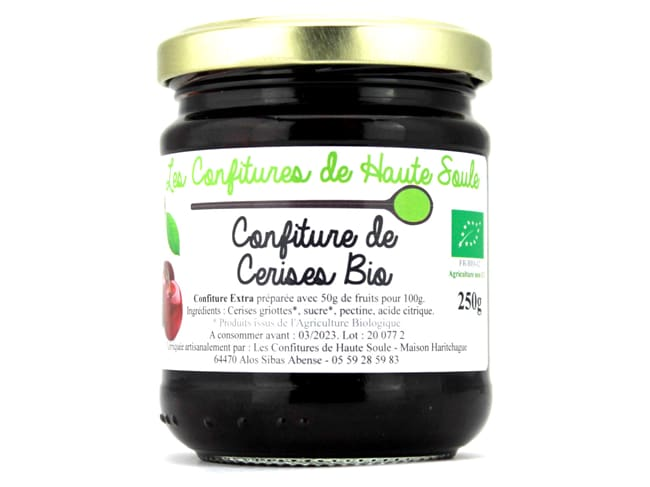 Organic Fruit Jam - Pot of 250g - Cherry - Confitures de Haute Soule
