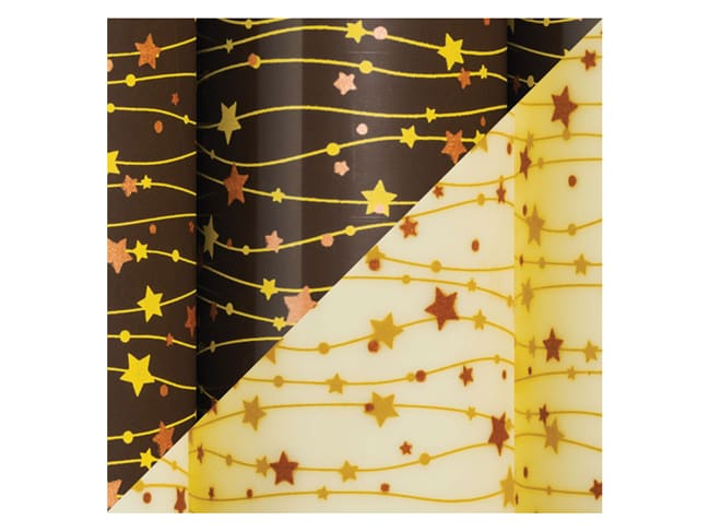 Chocolate transfer sheet - stars on lines - Pack of 10 sheets - Décors et Créations