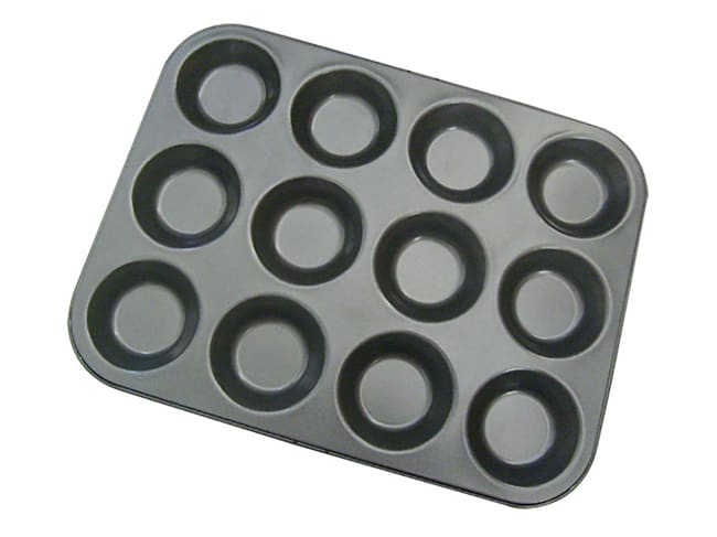 Non-Stick 12 Tartlet Tin - 34 x 26cm - De Buyer