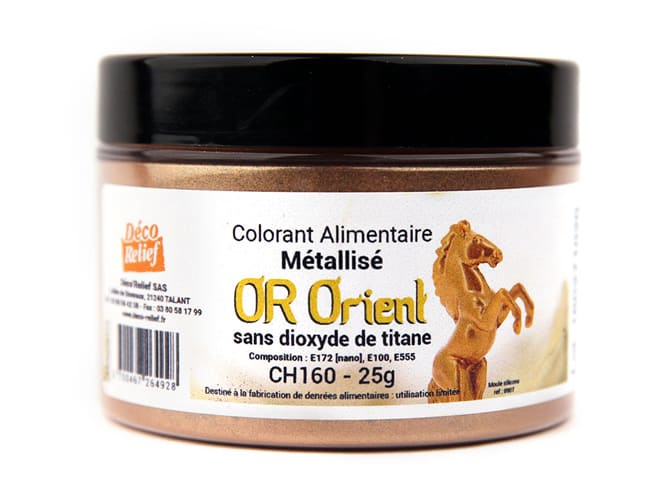 Gold Orient metallic food colouring - fat soluble powder - 25 g - Déco Relief
