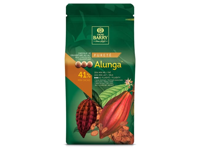 Alunga Milk Chocolate Couverture Pistoles - 41% cocoa - 1kg - Cacao Barry