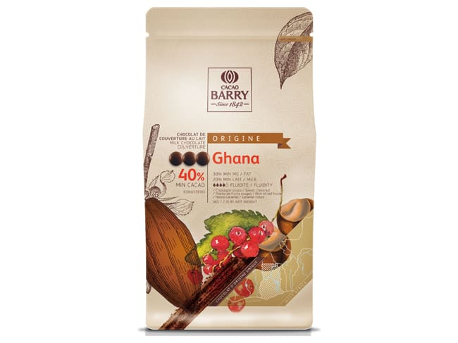 Ghana Milk Chocolate Couverture Pistoles - 40.5% cocoa - 1kg - Cacao Barry