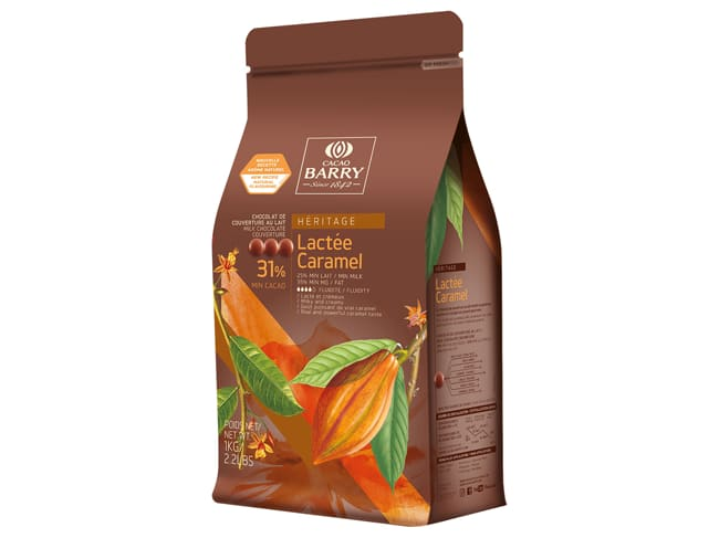 Milk & Caramel Chocolate Couverture Pistoles - 31,2% cocoa - 1kg - Cacao Barry