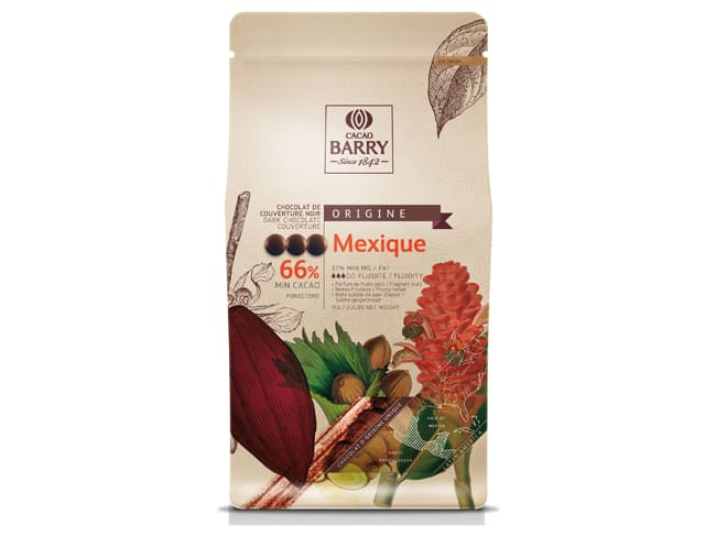 Mexique Dark Chocolate Couverture Pistoles - 66% cocoa - 1kg - Cacao Barry