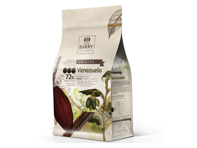 Venezuela Dark Chocolate Couverture Pistoles - 72% cocoa - 1kg - Cacao Barry