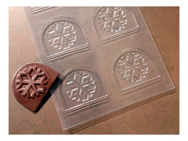 Plastic Mould for Decorated Yule Log Tips - 6 Snowflakes