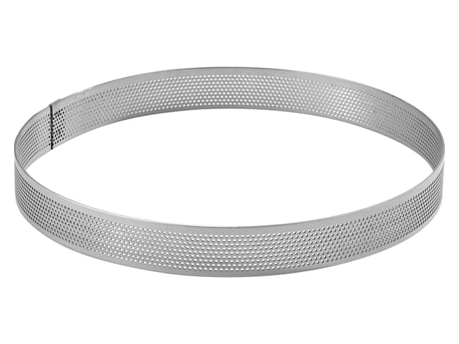 Perforated Stainless Steel Tart Ring - ht 2cm - Ø 6cm - Mallard Ferrière