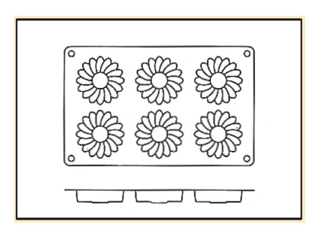 Silicone Mould - 6 Daisies - 30 x 17.5cm - Silikomart