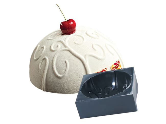 Pavocake Silicone Mould - Dome with Baroque Pattern - Ø 18 x ht 9cm - Pavoni