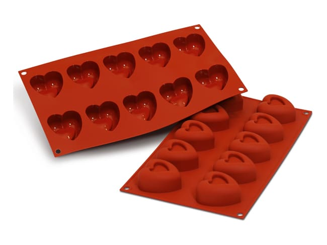 Flexible Silicone Mould - Heart Savarins (10 cavities) - Silikomart