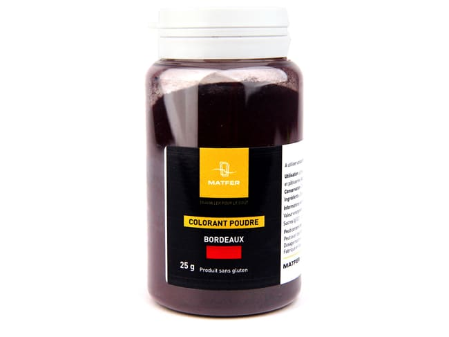 Burgundy Food Colouring Powder 25g - Water soluble - Tub of 25 grams - Matfer