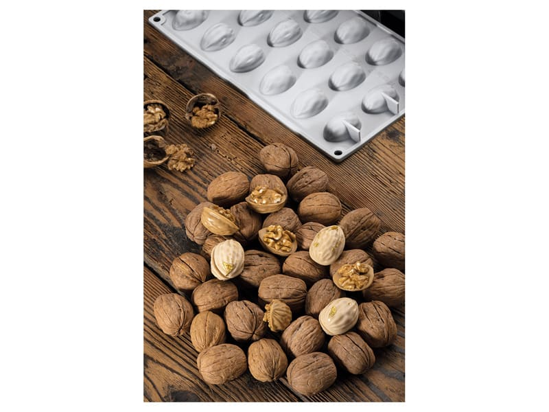 Walnut Silicone Mould Mat - 18 Cavities - 30 x 17.5cm - Pavoni