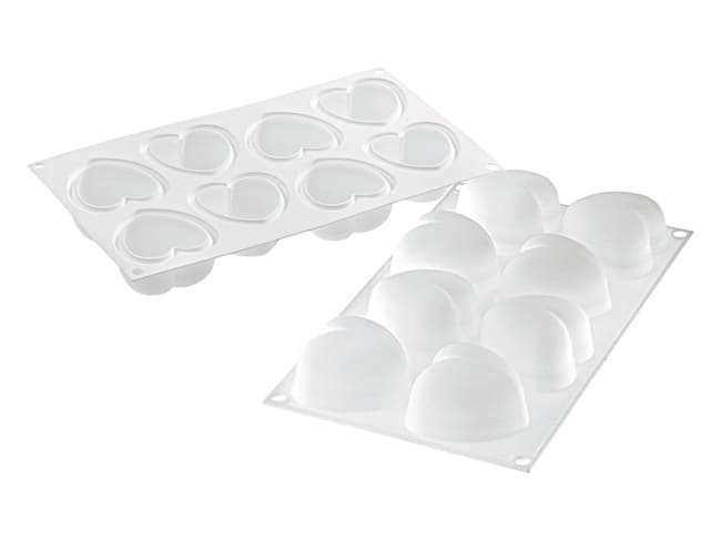 8 Rounded Heart Silicone Mould - 30 x 17.5cm - Silikomart