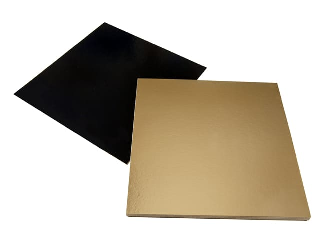 Gold & Black Square Cake Board - 20 x 20cm (x 10) - Tradiser