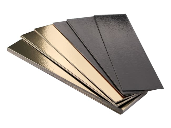 Gold/Black Rectangle Cake Board, Straight Edges - 35 x 10cm (x 10) - Tradiser