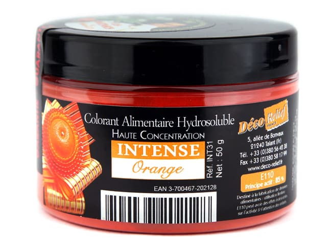 Colorant alimentaire en poudre orange - hydrosoluble - 50 g - Déco Relief