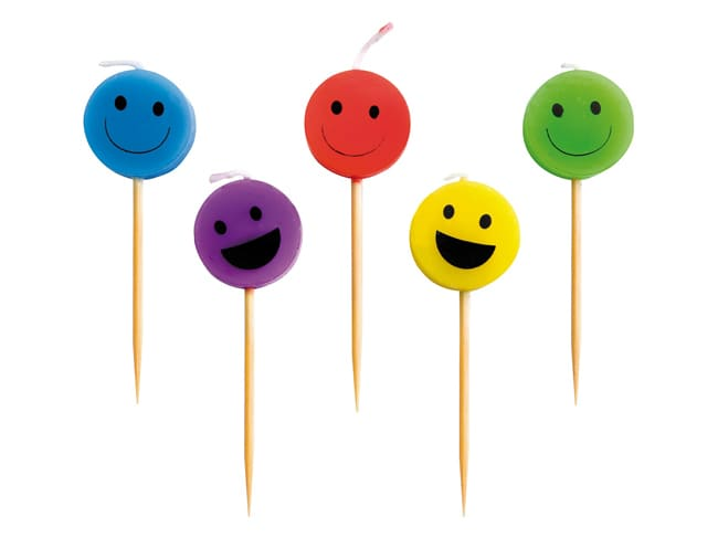 Bougie forme smiley - 5 pièces - Ibili