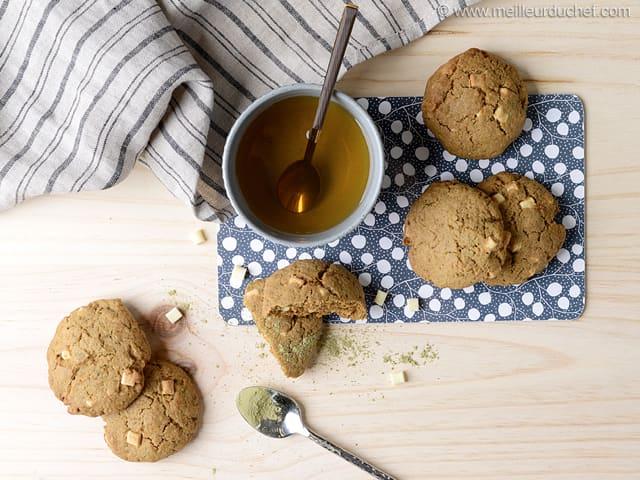cookies chocolat blanc et th matcha recette de cuisine. Black Bedroom Furniture Sets. Home Design Ideas