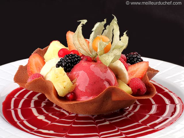 tulipe de fruits frais et sorbets fiche recette avec photos. Black Bedroom Furniture Sets. Home Design Ideas