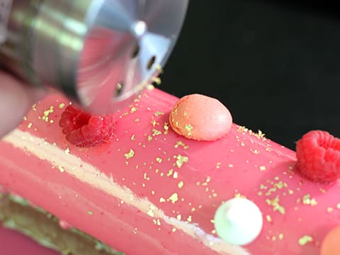 Entremets chocolat framboise sur brownie - 112