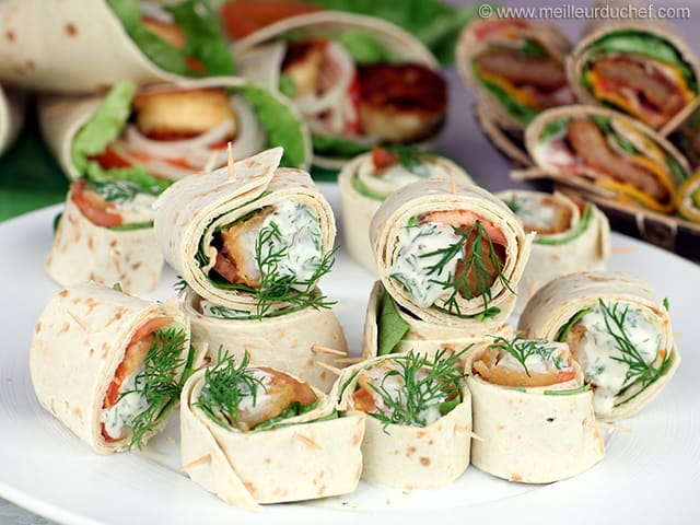 Wraps au poisson pané