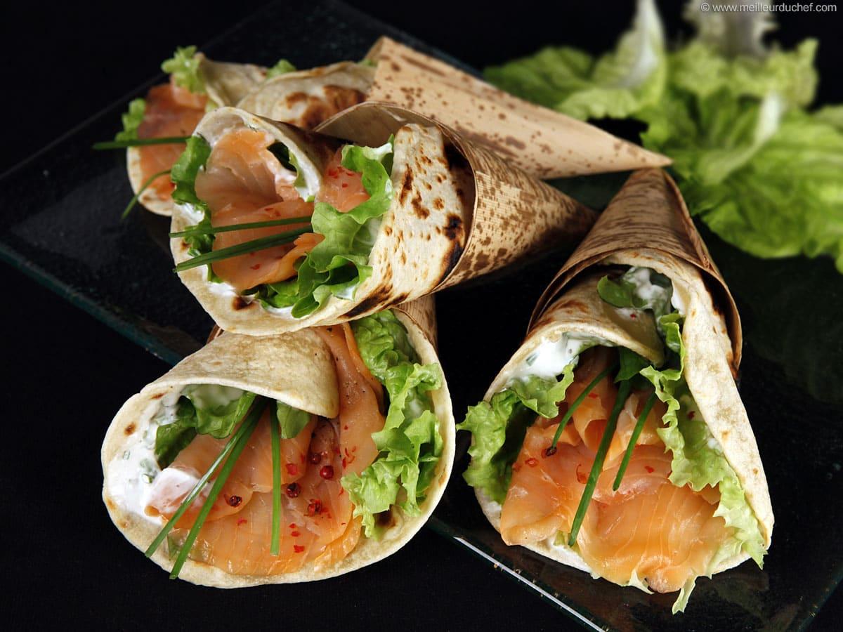 Wraps au saumon fumé - Notre recette illustrée - Meilleur ...