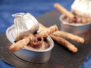 Anchovy Mousse with Sesame Grissini