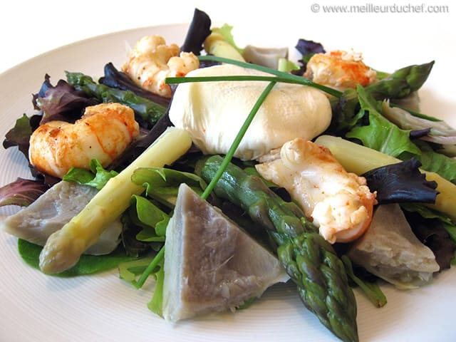 Artichoke Bottoms Salad with Langoustine Tails