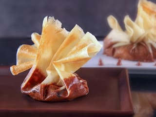 Brik Pastry Purses with Caramelized Pears