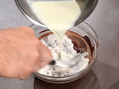 Add the cream to the melted chocolate