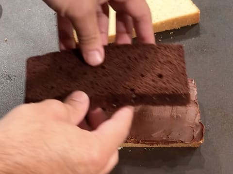 Cover the chocolate ganache with the slice of chocolate cake