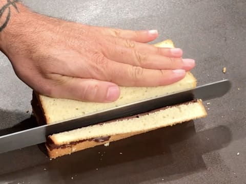 Trim the crust on one side of the cake