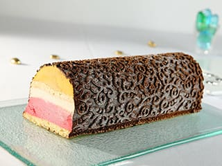 Ice Cream Yule Log, Baroque Finish