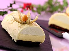 Passion Fruit, Pear & White Chocolate Yule Log