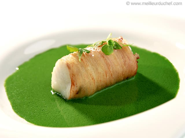 Cod Loin in a Potato Crust with Watercress Sauce