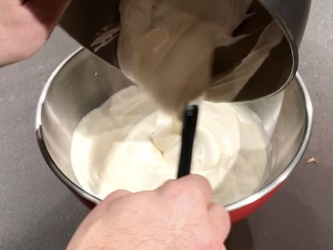 Add the rest of the whipped cream to the preparation inside the bowl
