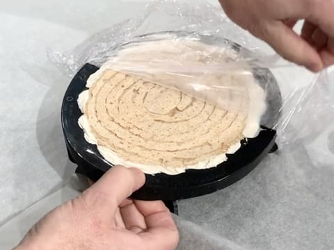 Remove the cling film from the silicone mould