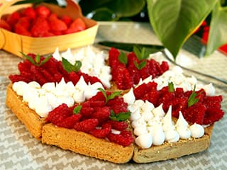 Lemon & Meringue with Raspberry & Mascarpone Chantilly Cream Tart, in Individual Tartlets