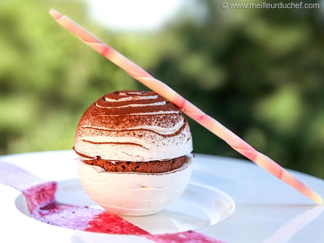 Meringue Spheres with Chocolate Mousse, Ginger & Cherry Compote