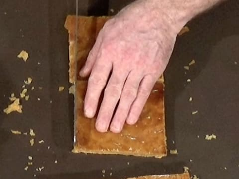 Trim the two pastry scraps with a knife