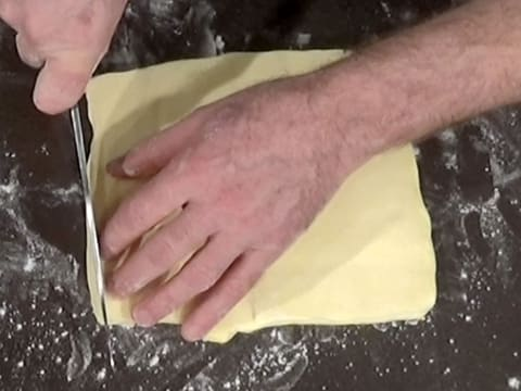 Trim one side of the butter with a knife
