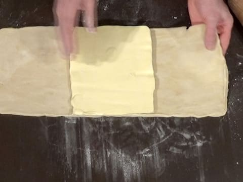 Place the butter square in the centre of the dough rectangle