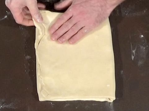 The dough is folded into three layers with clean angles